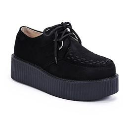Women's Creepers Wedge Platform Shoes Lace-up Flat Fashion O