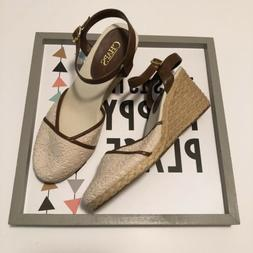 crochet cream espadrille wedges womens size 10