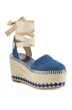 TORY BURCH DANDY BLUE DENIM PLATFORM  85MM WEDGE ESPADRILLE