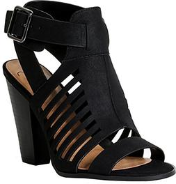 SODA Delicious Yummy Cutout Stacked Heel Sandal,Black,8