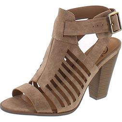 SODA Delicious Yummy Cutout Stacked Heel Sandal,Taupe Pu,9
