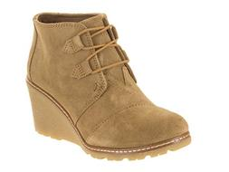 TOMS Women's Desert Wedge Crepe Taupe Suede Shoes 9