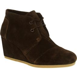 Toms Women's Desert Wedge Suede Chocolate Brown Ankle-High S