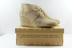TOMS Women's Desert Wedge Taupe Suede 5 B US B