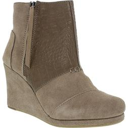 Toms Women's Desert Wedge High Taupe Suede Croc Emboss Ankle