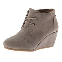 Toms DESERT WEDGE Womens Taupe Suede Wedge Heels Booties Sho