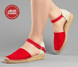 Diegos® Classic Spanish Handmade Red Ankle-strap Espadrille