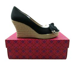 Tory Burch Dory 85mm Wedge Espadrille Size 8 Black Canvas Bo