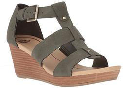 Dr. Scholl's Shoes Women's Barton Wedge Sandal, Green Snake