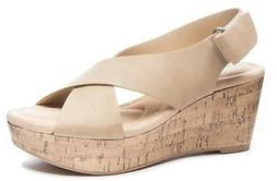 CL Laundry Dreamgirl Women's Wedge Sandals Nude Peep Toe Com