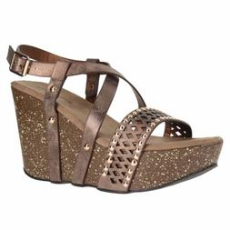 Pierre Dumas Ellie-5 Bronze Womens Wedge Sandals Size 8M