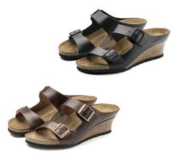 BIRKENSTOCK PAPILLIO EMINA BLACK COGNAC LEATHER WOMEN'S SAND