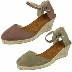 F2255 LADIES SPOT ON BUCKLE ANKLE STRAP CLOSED TOE WEDGE HEE
