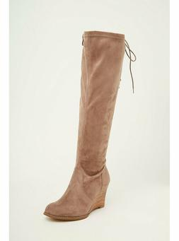 TORRID FAUX SUEDE LACE UP BACK WEDGE BOOTS  SIZE 8.5 NIB
