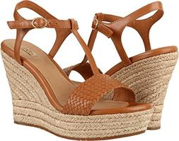 UGG FITCHIE II CHESTNUT LEATHER STRAPPY PLATFORM WEDGE HEELS