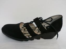 FLY London Leather Closed Toe Lace-up Wedges - Poma BLACK/BL
