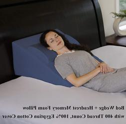 """Foam Bed Wedge Pillow 25"""" x 24"""" x 12"""" 100% Egyptian Cotton C"""