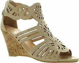 FOREVER ETHAN-03 Women's Wedge Heel Ankle Strap Sandals