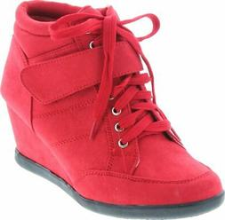 Forever Womens Peggy-51 Hot Fashion Lace Up Wedge Sneakers C