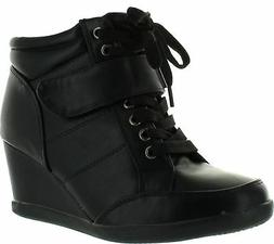Forever Womens Peggy-61 Hot New Fashion Lace Up Wedge Sneake