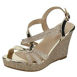FOREVER FQ22 Women's Glitter Strappy Wrapped Wedge Heel Plat