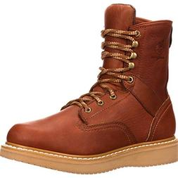 "Georgia G8152 8"" Wedge Mens Size 8 Brown Boots Work Leather"