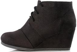 galaxy womens wedge boots black 9