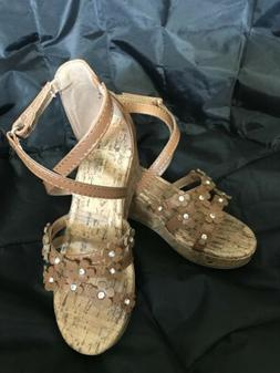American Eagle Girl's Open Toe Wedge Heel Sandals Shoes Size