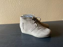 Toms Girls Desert Wedges Taupe Tan Suede Ankle Boots Shoes S
