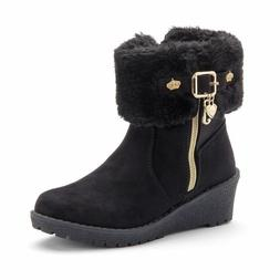 Juicy Couture girls kid black wedge ankle Boots New $75