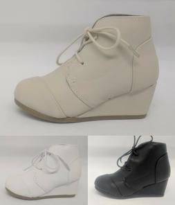 Girls Youth Kids Tailored Oxford Wedge Ankle Boot #Patricia-