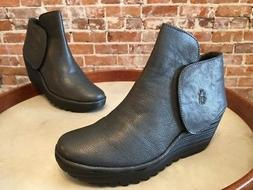 Fly London Graphite Grey Leather Yogi Wedge Ankle Boot Booti