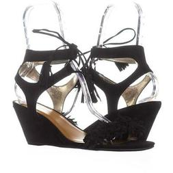 MG35 Haniya Fringe Wedge Sandals 586, Black, 11 US