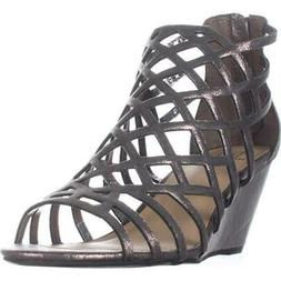 MG35 Henie Caged Wedge Sandals, Pewter, 8 US