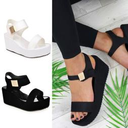 HOT Summer Women Wedges Middle Heel Platform Sandal Ladies O