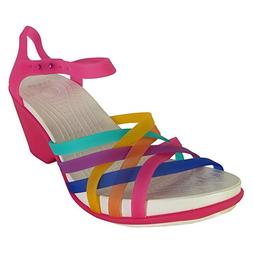 Crocs Womens Huarache Wedge Sandal Shoes, Multi/Candy Pink,