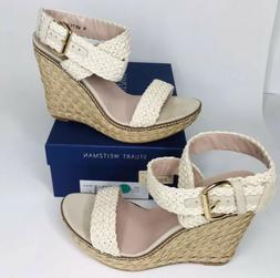 "Stuart Weitzman Ivory Crochet Wedge ""Alex""  Sandals 145-30-4"