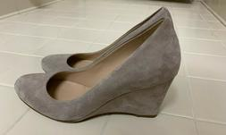 J. Crew Martina Suede Leather Wedge Pale Thistle Grey Gray S