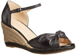 Nine West Women's Janelayne Leather Wedge Sandal, Black, 10