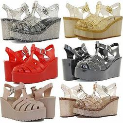 Jelly Sandals High Wedge Heels Design Comfortable Shoes Cute