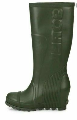 SOREL JOAN TALL Rain Wedge Boots WOMEN'S SIZE 8.5 Dark Green