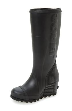 Women's Sorel Joan Tall Wedge Rain Boot, Size 6 M - Black