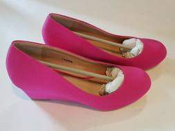 Journee Womens Wide Width Round Toe Wedges - Hot Pink - NEW