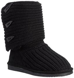 BEARPAW Women's Knit Tall Boot, Black,12 M US