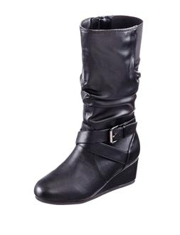 """143 Girl """"Kylie"""" Wedge Tall Boots – Girls Size 1 -  Bl"""