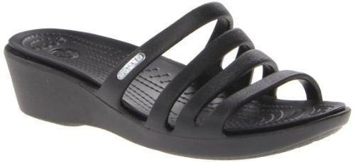 crocs Women's 14706 Rhonda Wedge Pump,Black/Black,8 M US