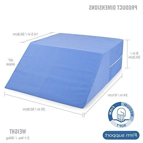 "DMI Bed Elevated Leg Pillow, Foam Wedge for Elevating Reducing Back Post Surgery and Injury, Recovery, Blue, x 20"" x 24"""