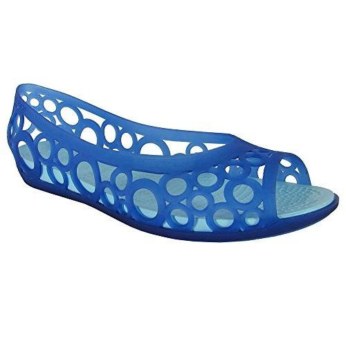 Crocs Womens Adrina Open Toe Slip On Flat Shoes, Cerulean Bl