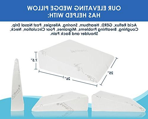 """Relax Home Inch for Reflux, 1.5 Inch Memory with Cover, W x 26"""" x H, White"""