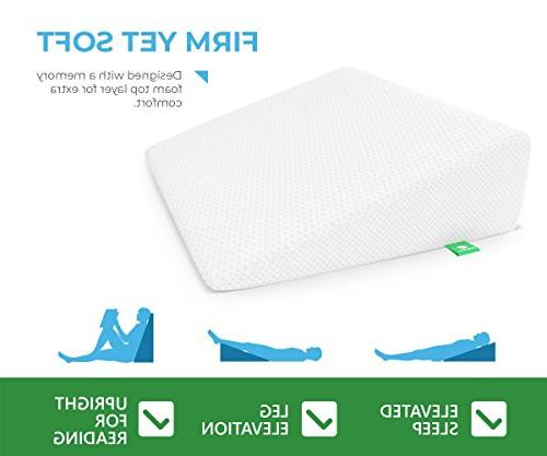 Bed Wedge Pillow Memory Top Cushy for Acid Post Elevation, Snoring & Breathing Cover